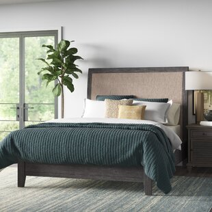 Rhianna Solid Wood and Upholstered Sleigh Bed