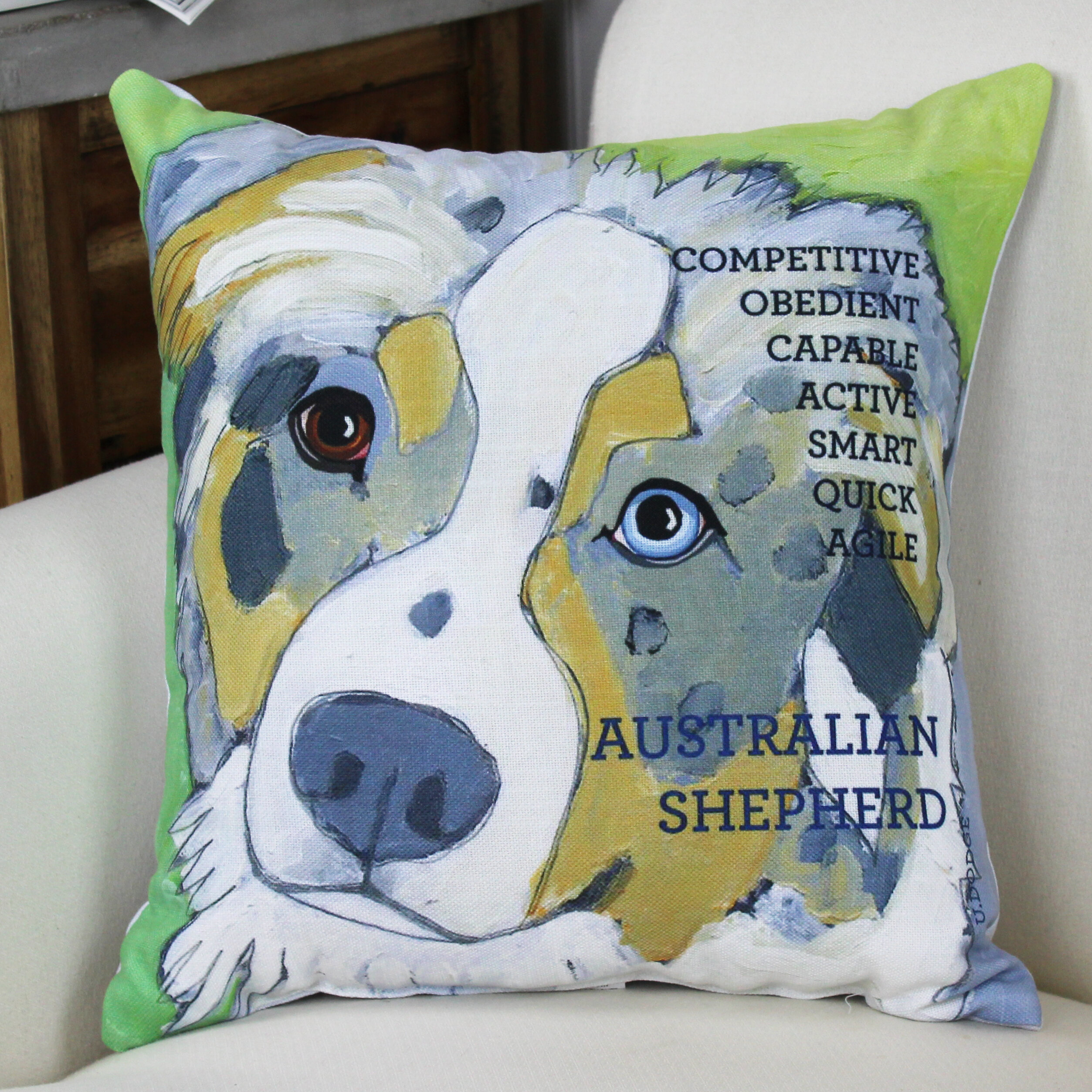 Winston Porter Kaelan Australian Sheep Dog Throw Pillow Reviews Wayfair
