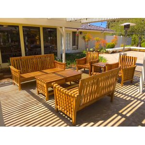 teak outdoor patio furniture 6 piece deep seating group with cushion