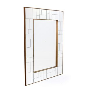 Latitude Run Rectangle Antiqued Gold Trim Wall Mirror