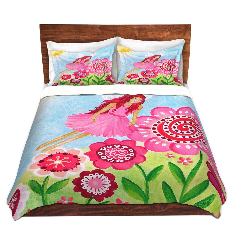 Ebern Designs Sobers Njoy Art Pink Flower Fairy Microfiber Duvet