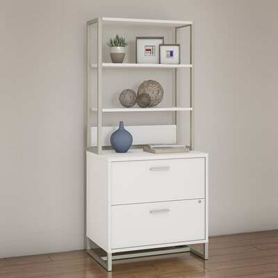 Method 2 Drawer Lateral Filing Cabinet with Hutch Kathy Ireland Office by Bush Finish: White