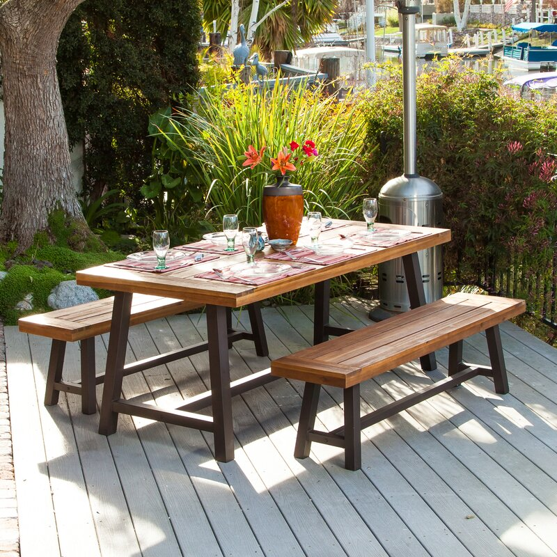 Image of Bartlesville Rustic Metal 3 Piece Dining Set up to 14% off