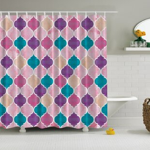 Modern Damask Print Single Shower Curtain