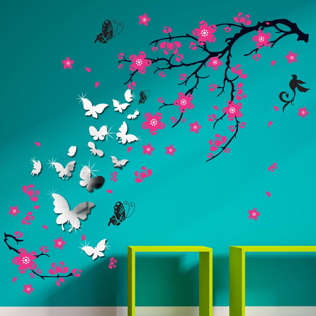 Walplus Mirror Butterflies And Blossom Flowers Wall Decal Reviews Wayfair