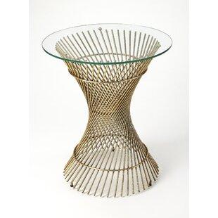 Alaniz Glass and Metal End Table