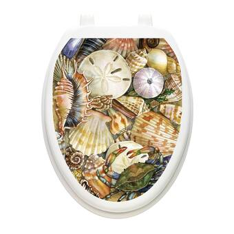 Toilet Tattoos Coral Reaf  Lid Cover  Decor  Reusable Vinyl 1016