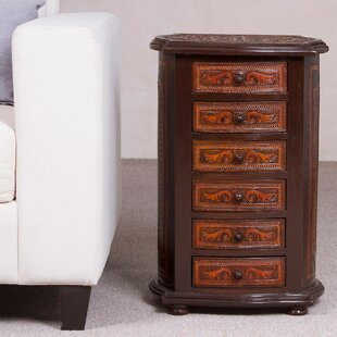Bloomsbury Market Bilst Colonial Majesty Mohena Wood and Leather End Table with Storage