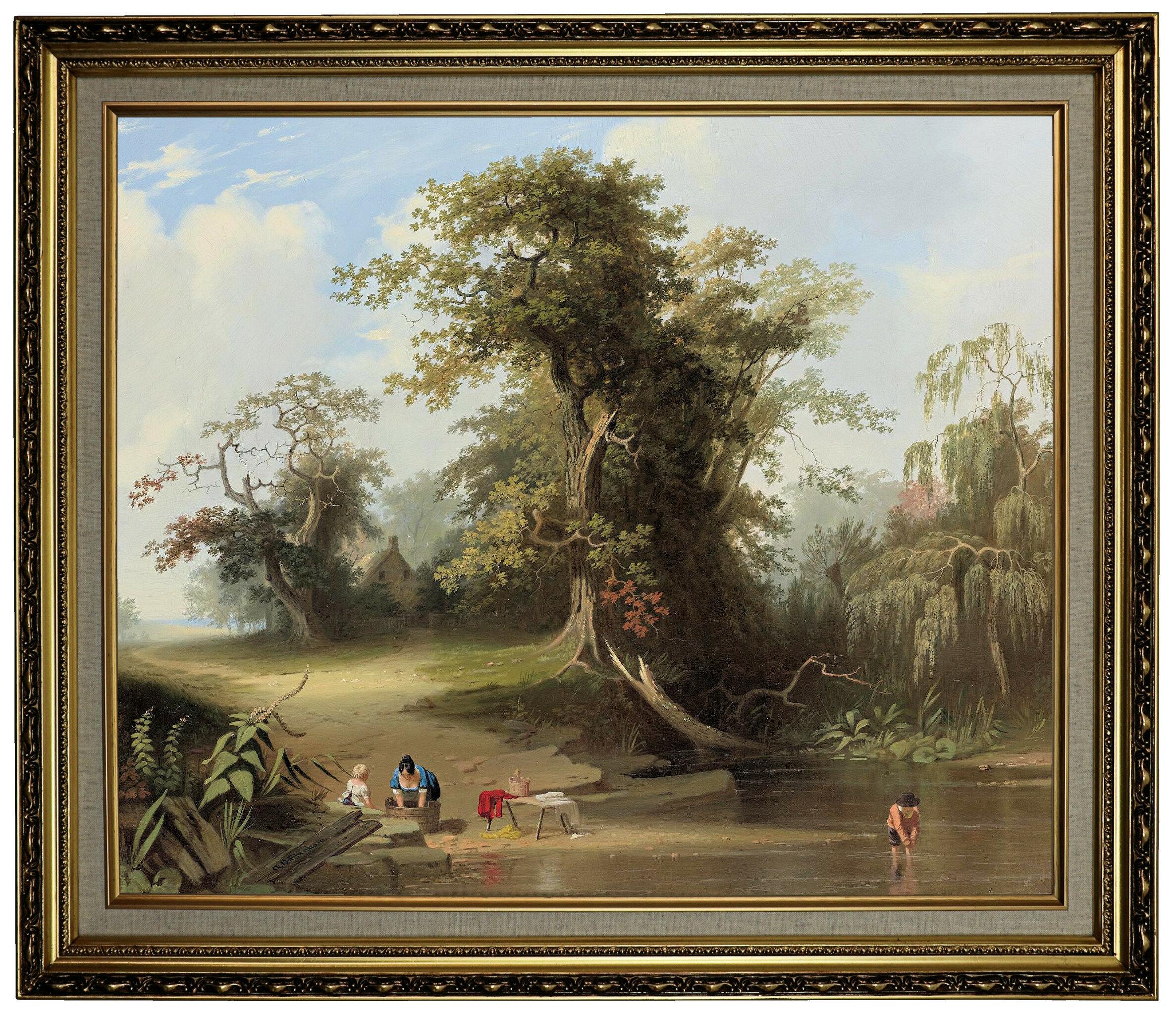 Astoria Grand Landscape Rural Scene 1845 Framed Oil Painting Print On Canvas Wayfair