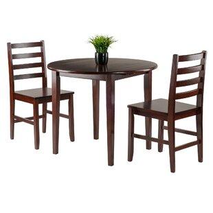 Alcott Hill Kendall 3 Piece Drop Leaf Wood Dining Set