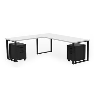 Wickstrom 60 Wide Desk and Mobile Pedestal, Designer White Laminate/Silver Finish