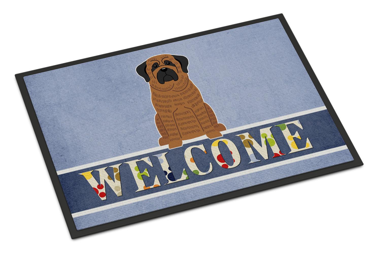 Red Barrel Studio Camina Mastiff Brindle Welcome 27 In X 18 In Non Slip Outdoor Door Mat Wayfair