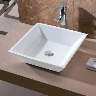 L-006 Bathroom Ceramic Square Vessel Bathroom Sink Luxier