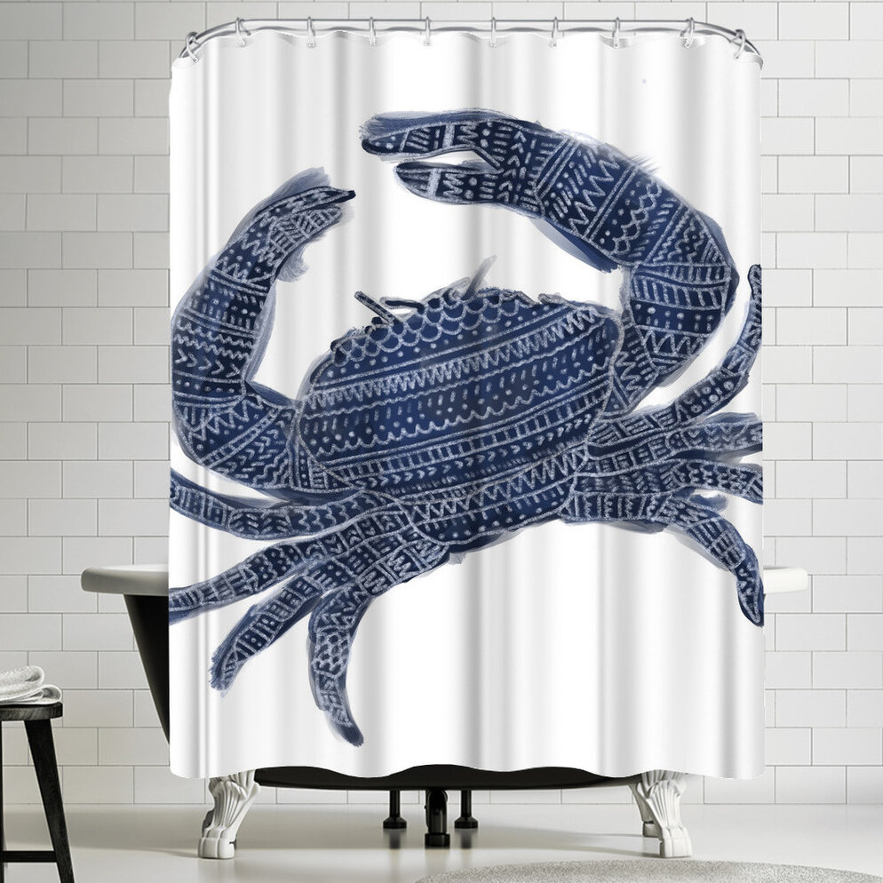 East Urban Home Jetty Printables Navy Blue Tribal Crab Shower Curtain