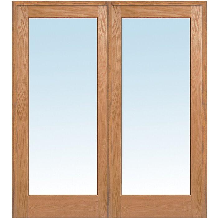 Verona Home Design Wood 2 Panel Red Oak Interior French Door