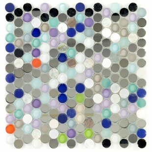 Penny Round Glass Mosaic Tile in Harbor Haze
