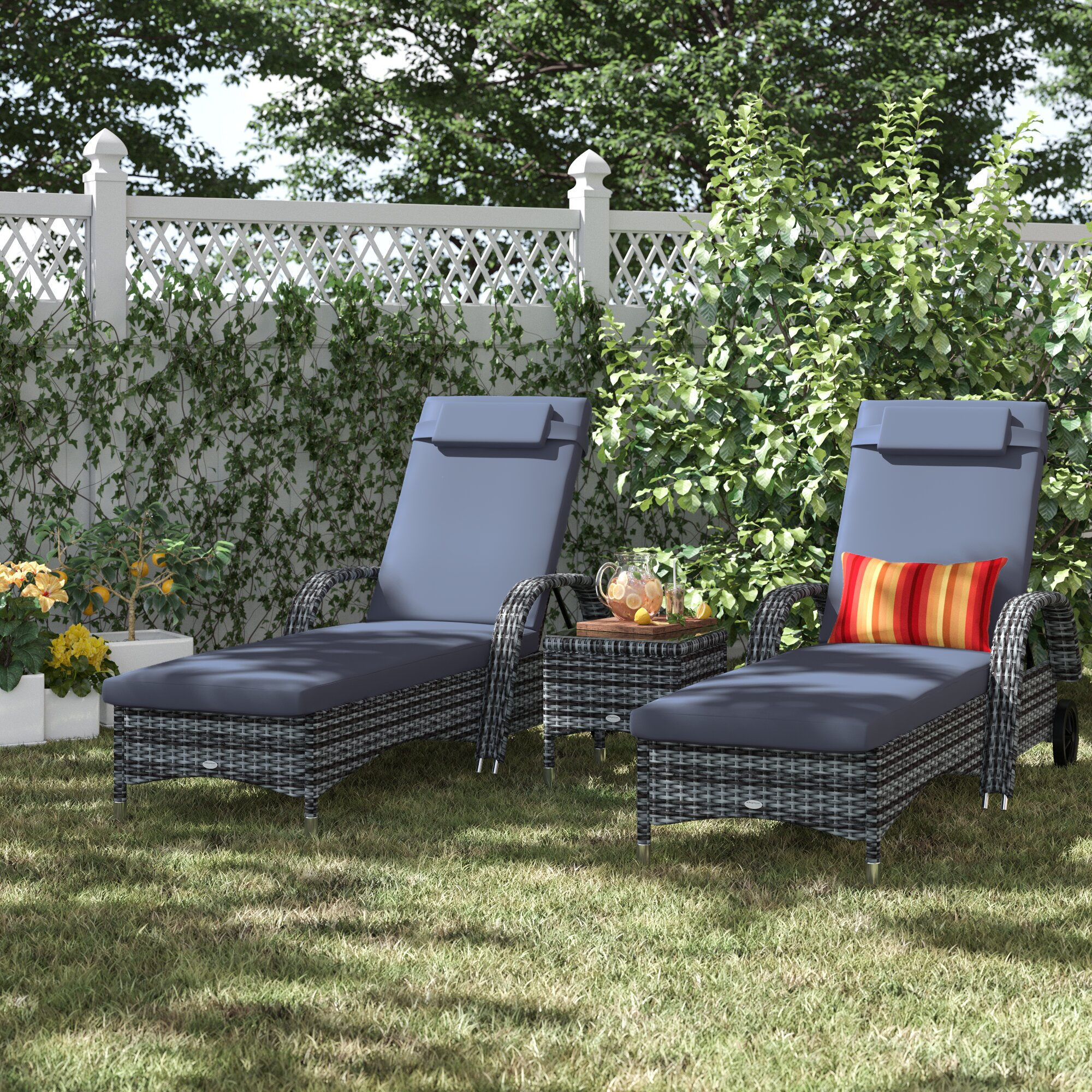 Berkhamsted Reclining Sun Lounger Set with Cushions and Table