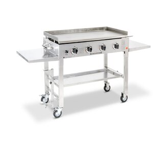 4-Burner Flat Top Propane Gas Grill with Side Shelves