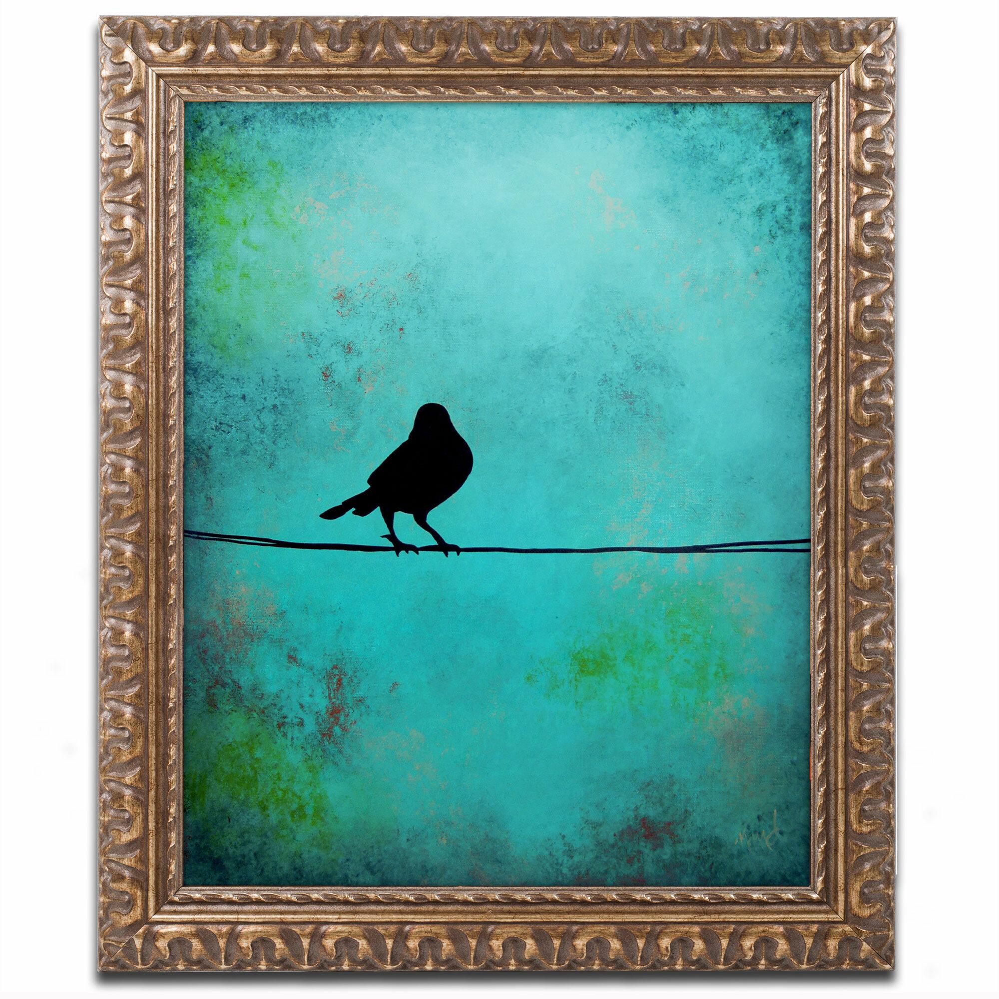 Trademark Art Bird S Attention Framed Painting Print On Canvas Wayfair
