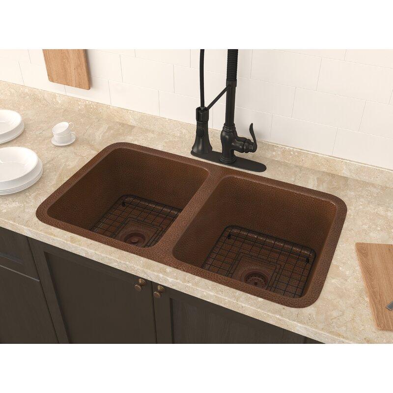 Demonte 32 X 18 Double Basin Undermount Kitchen Sink With Basket Strainer And