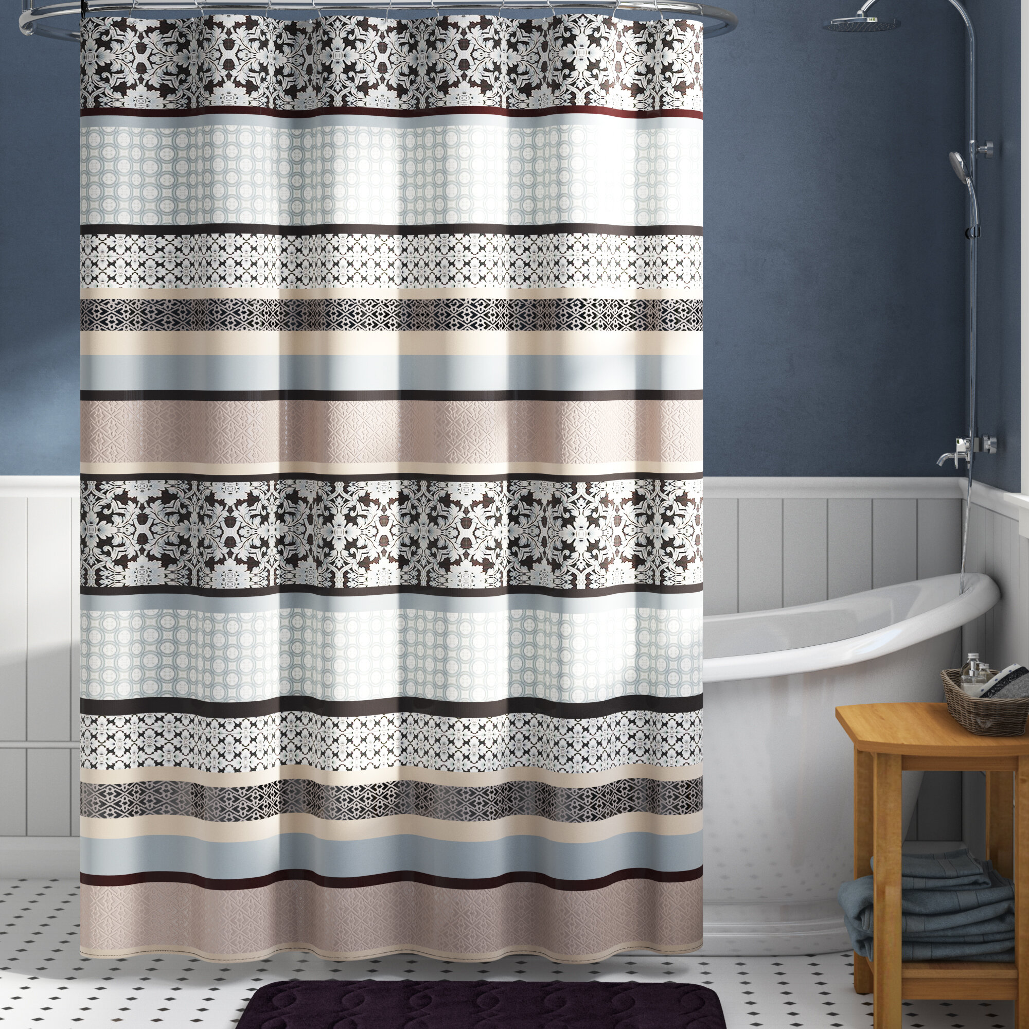 Red Barrel Studio Lakemore Striped Single Shower Curtain Reviews Wayfair