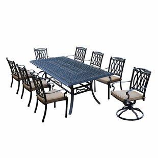 Otsego 9 Piece Aluminum Dining Set with Cushions
