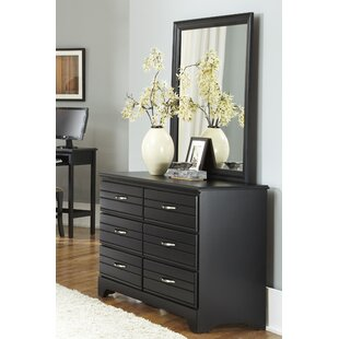 Della 6 Drawer Double Dresser with Mirror