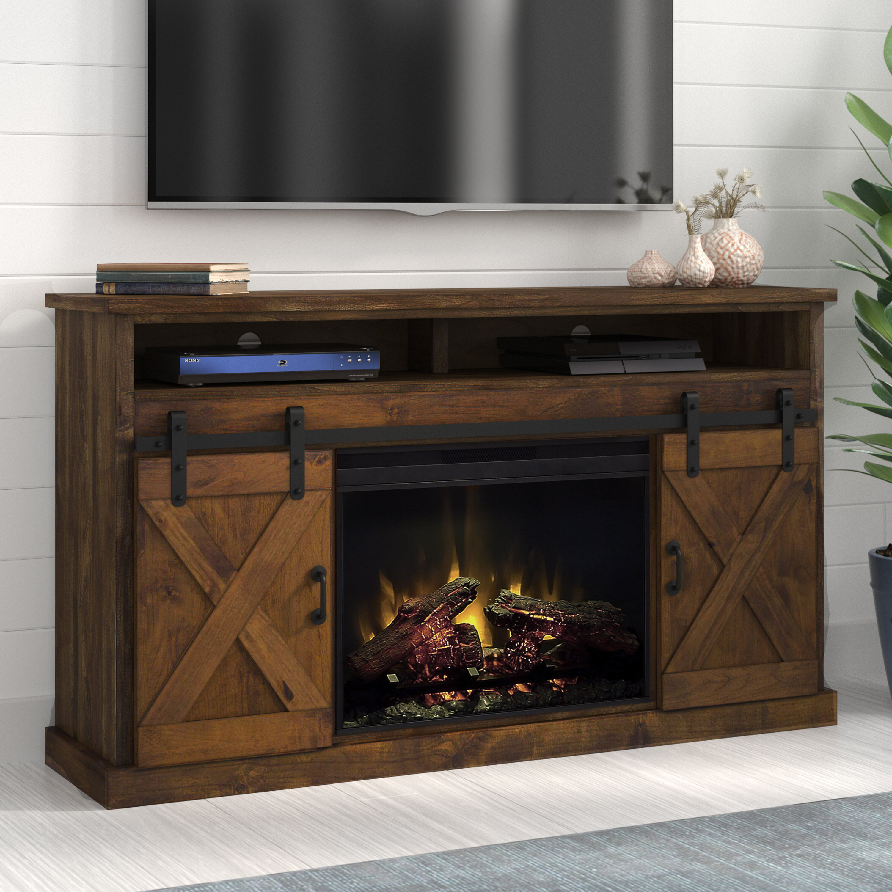 Loon Peak Pullman Tv Stand For Tvs Up To 66 With Electric Fireplace Included Reviews Wayfair