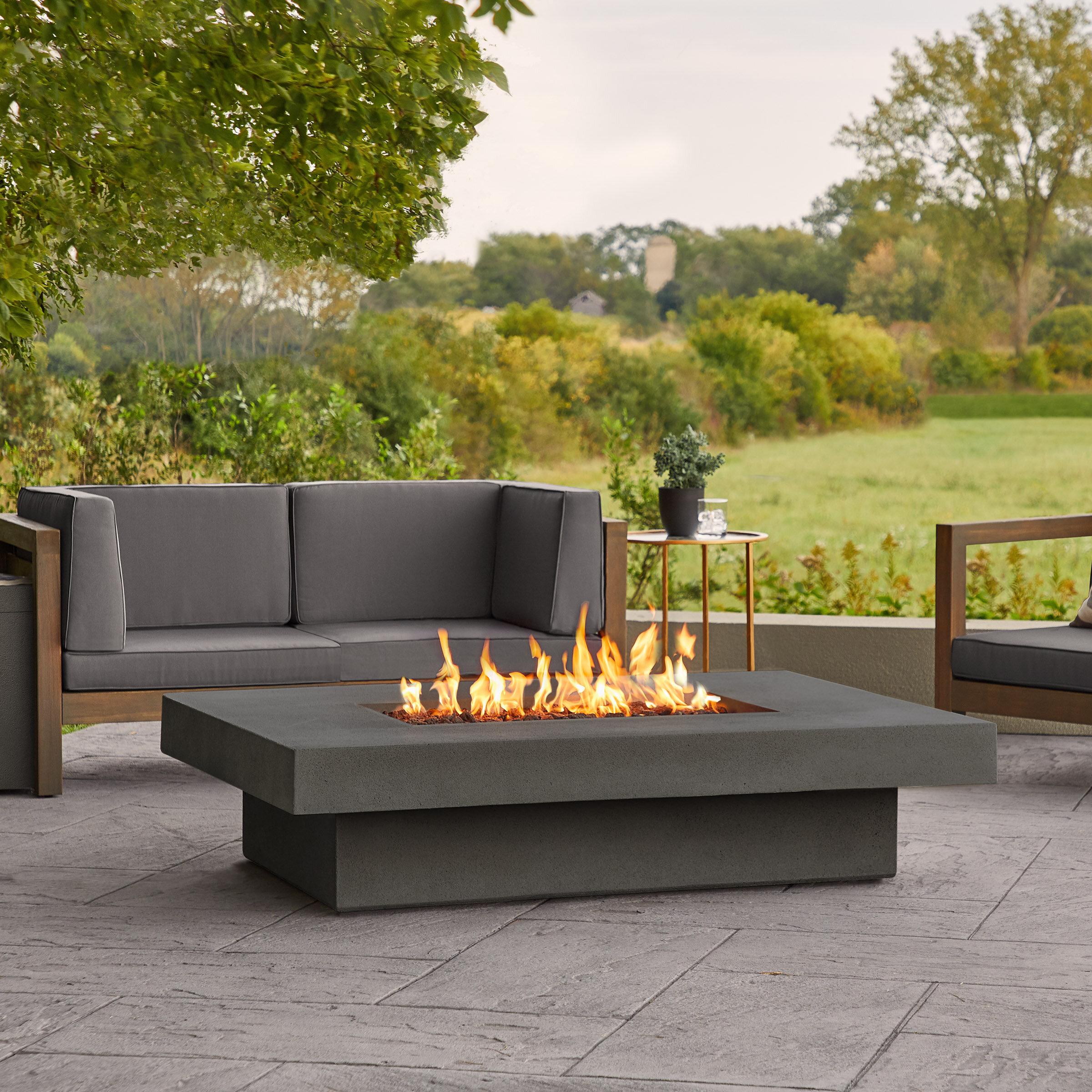 Latitude Run Alazhia Concrete Propane Fire Pit Table Reviews Wayfair