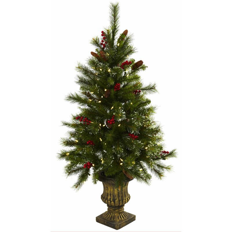 nearly natural 4 green pine artificial christmas tree with 100 warm white led lights with