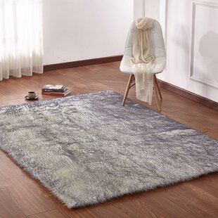 Leiker Hand Woven Faux Fur White Gray Area Rug