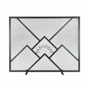 Sunrise Single Panel Iron Fireplace Screen by ACHLA