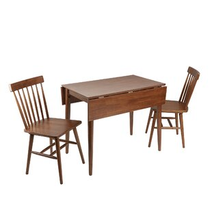Alidade Mid-Century Modern 3 Piece Drop Leaf Breakfast Nook Dining Table Set