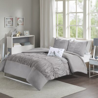 House of Hampton Mincey Reversible Duvet Cover Set Size: King / California King, Color: Grey