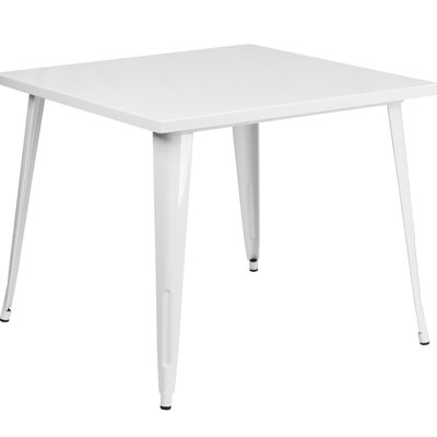 Turn on the Brights Brandt Metal Dining Table Color: White