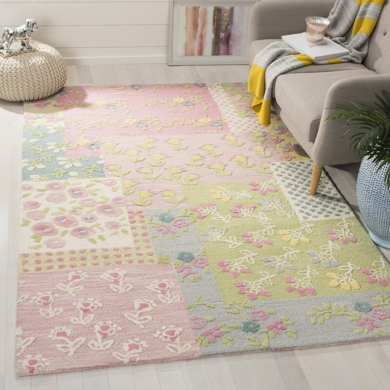 Harriet Bee Gosselin Floral Handmade Tufted Pink Green Area Rug Reviews Wayfair