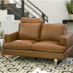 Charles Mid Century Top Grain Leather Loveseat Brayden Studio