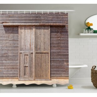 Livingston Old Wooden Timber Shower Curtain + Hooks