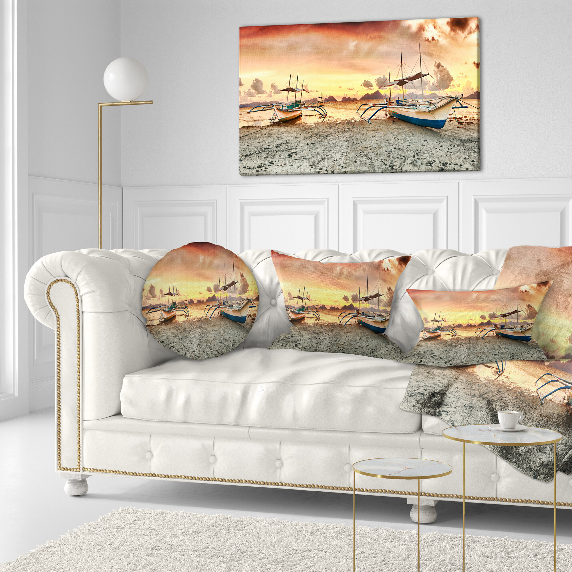 East Urban Home Seashore Photography Boats At Sunset Throw Pillow