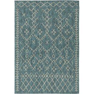 Gunter Bohemian Teal/Khaki Indoor/Outdoor Area Rug