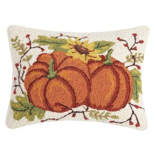 Munden Fall Pumpkin Duo Wool Throw Pillow