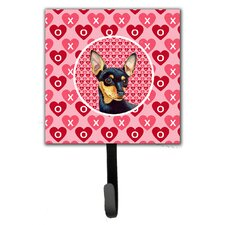 Min Pin Valentine's Love and Hearts Leash Holder and Wall Hook by Caroline's Treasures