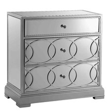 Emporia Mirrored 3 Drawer Accent Cabinet by Stein World