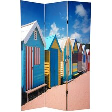 70.88 x 47 Double Sided Beach Cabana 3 Panel Room Divider by Oriental Furniture