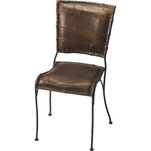 Galena Genuine Leather Upholstered Dining Chair by Red Barrel Studio