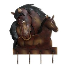 Horse Mom Love Unique Steel Horses Coat Rack and Key Holder by Novica