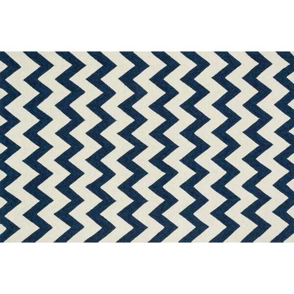 Loloi Rugs Venice Beach Hand Hooked Blue/Ivory Indoor/Outdoor Area Rug U0026  Reviews | Wayfair