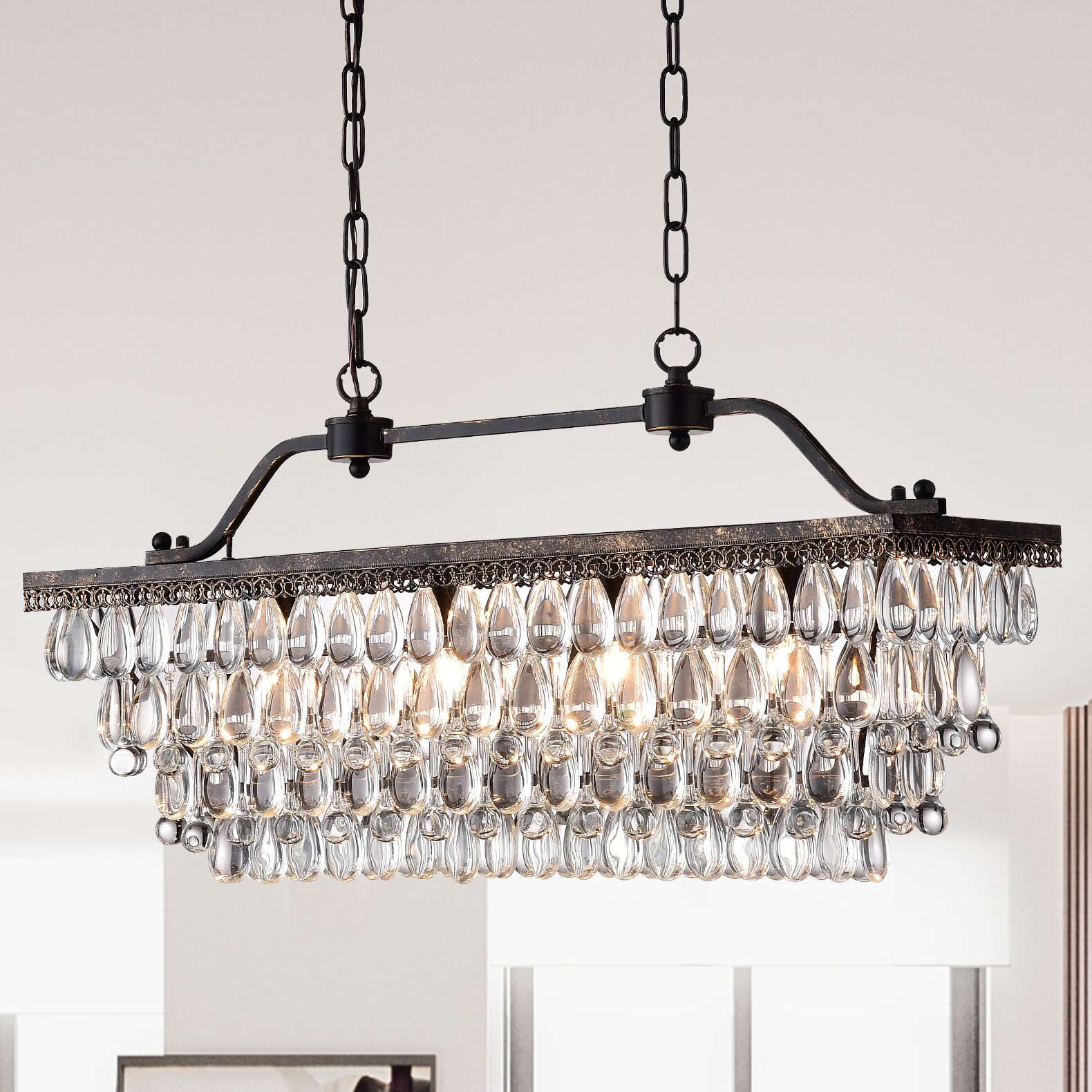 Warehouse of Tiffany 4-Light Crystal Kitchen Island Pendant ...