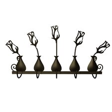Rose Bud Vases 5 Hook Rack by Plastec