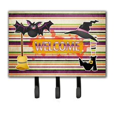 Witch Costume and Broom on Stripes Halloween Leash Holder and Key Hook by Caroline's Treasures